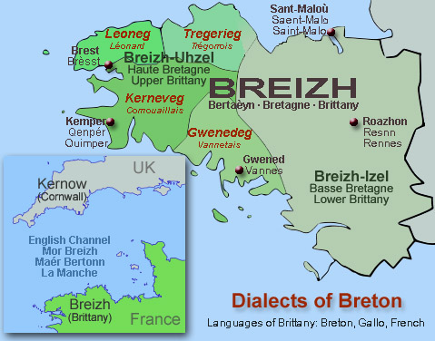 Map of the breton dialects