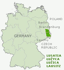 Map of Lusatia in Germany